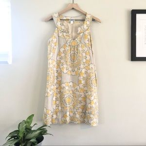 Loft Sleeveless Linen Medallion Shift Dress Size 2
